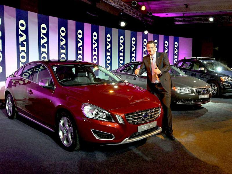 Tomas Ernberg, MD Volvo Auto India, poses for photographs at the launch of their new variants S60, S80 and XC60 in New Delhi. PTI/Vijay Kumar