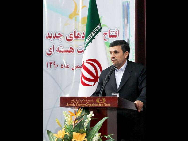 A handout picture released by Iranian President Mahmoud Ahmadinejad's official website shows him addressing a ceremony at Tehran's research reactor centre during which he unveiled what was described by local media as Iran's first domestically produced, 20-percent enriched nuclear fuel for the capital's research reactor.(AFP photo/Iranian presidency)
