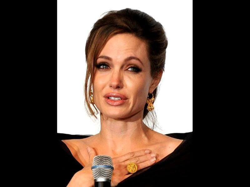 An overwhelmed Angelina at the Bosnian premiere of her emotional directorial debut.