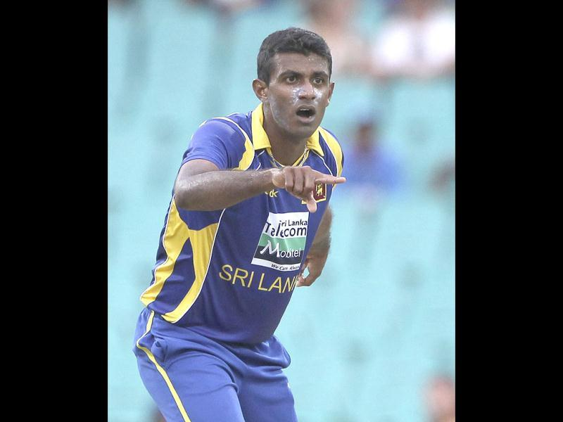 Sri Lanka cricket player Farveez Maharoof appeals for a wicket during an ODI cricket match against Australia at the Sydney Cricket Ground in Sydney. (AP Photo/Rob Griffith)