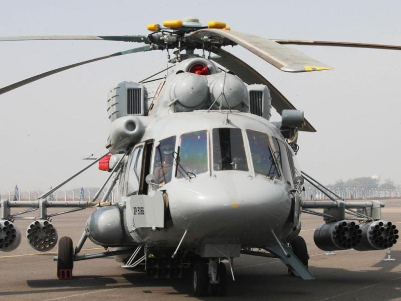MI-17 V5 Combat Helicopter inducted into Indian Air Force by Defence Minister A K Antony in New Delhi. Agencies