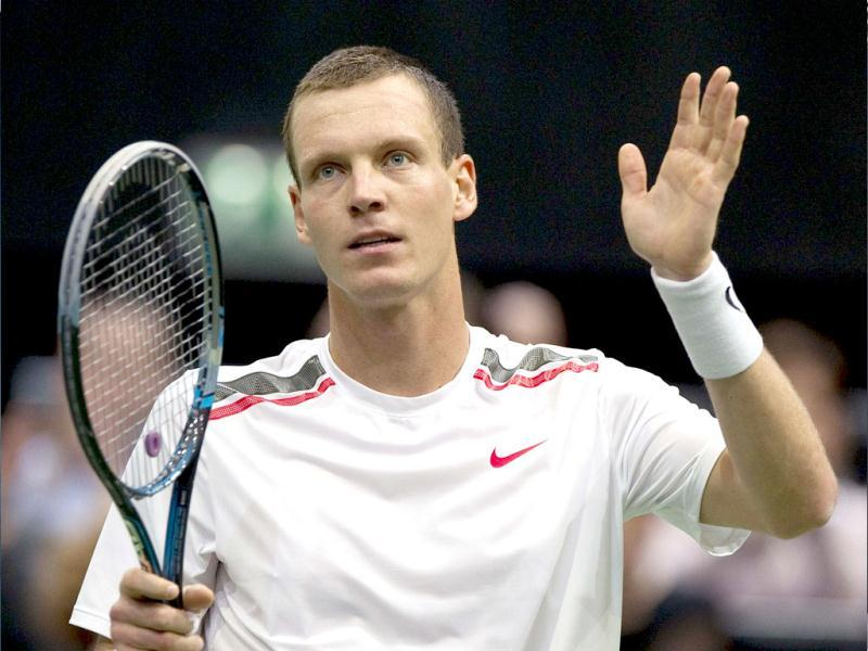 Tomas Berdych of the Czech Republic reacts after matchpoint against Andreas Seppi of Italy during their men's singles tennis match at the ABN AMRO World Indoor Tournament in Rotterdam. Reuters/Paul Vreeker/United Photos