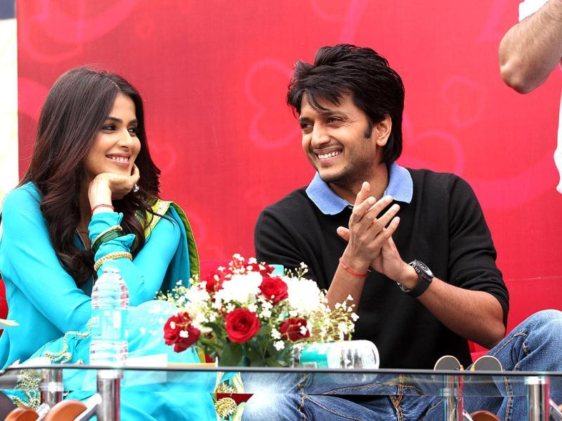 Riteish Deshmukh and Genelia D'Souza at IIPM, Saket.