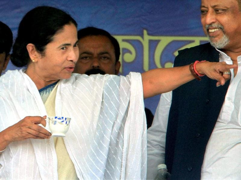 West Bengal chief minister Mamata Banerjee gestures during the foundation stone laying ceremony of a mega project for flood control on River Kaliaghai at Katakhali, East Midnapore. PTI/ Swapan Mahapatra