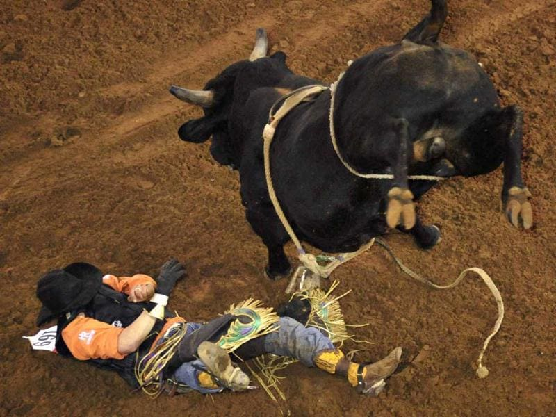 Clay Taylor of Beaufort, South Carolina gets tossed off his bull during the 128th Silver Spurs Rodeo held at Osceola Heritage Park in Kissimmee, Florida. This is the biggest rodeo east of the Mississippi River, and is so important to the community that all public schools in the county close for the day. REUTERS/Octavian Cantilli