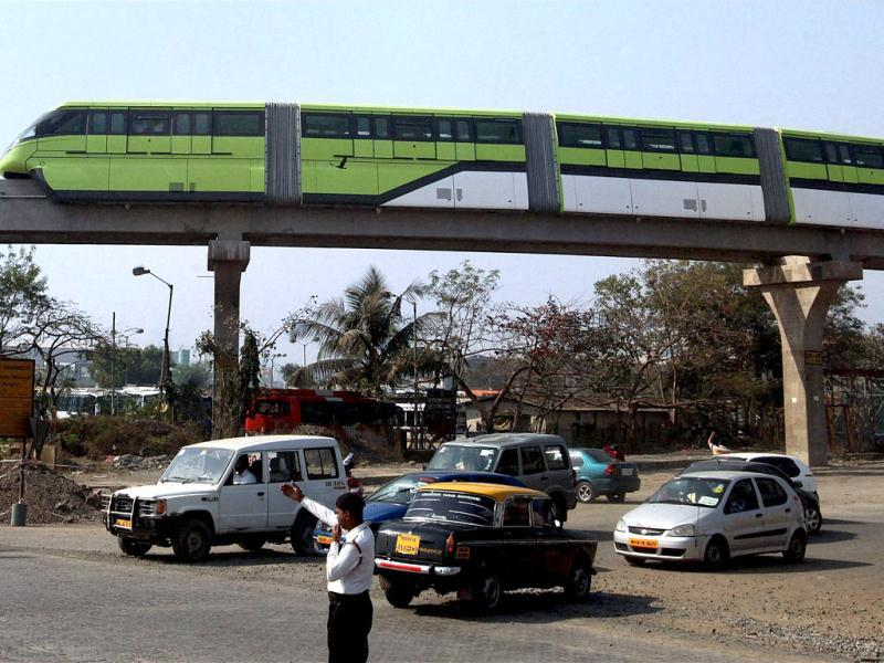 A monorail on a trial run in Mumbai on Saturday. PTI Photo / Shashank Parade