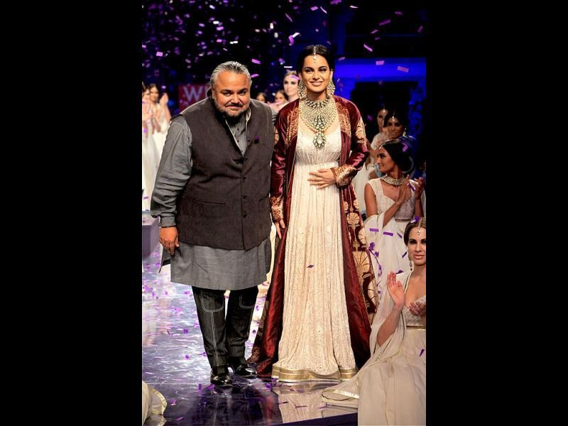 Kangana Ranaut walked the ramp with designer JJ Valaya.