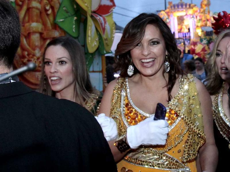 Actress Mariska Hargitay, right and Hillary Swank arrive at their float in the staging area of the Mardi Gras parade in New Orleans. AP/Bill Haber
