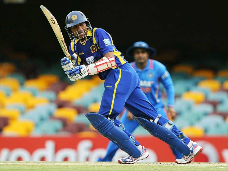 Sri Lanka's Tillakaratne Dilshan plays the ball during the the one day international cricket match against India in Brisbane. AFP/Greg Wood