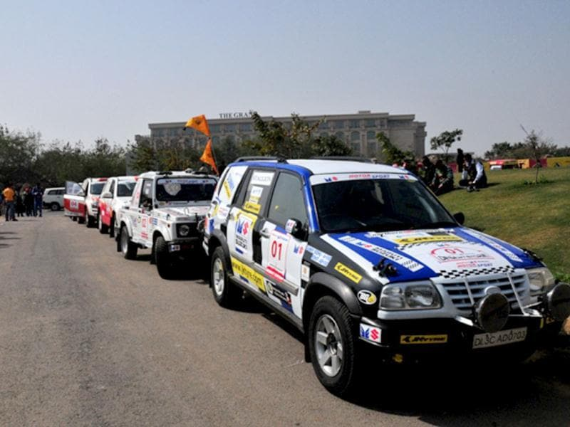The 10th Desert Storm is underway and HT brings you photos from the gruelling 3,500 km event that will run from Rajasthan from as far as the Rann of Kutch. The event is a test not only of the skill of the drivers but also of the sturdiness of their machines. Pic: Last year's Desert Storm winner Sunny Siddhu's Grand Vitara leads the 48 strong field in the Xtreme category towards the ceremonial flag-off in Delhi on Monday. HT Photo/Vinayak Pande