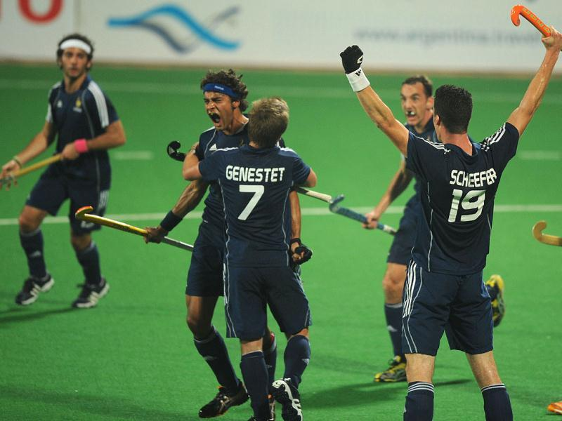 French players celebrate a goal during the men's field hockey match between India and France of the FIH London 2012 Olympic Hockey qualifying tournament at the Major Dhyan Chand National Stadium in New Delhi. (AFP Photo)