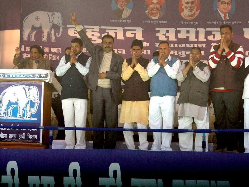 UP chief minister Mayawati and BSP leaders at a rally in Agra. HT/Avinash Jaiswal