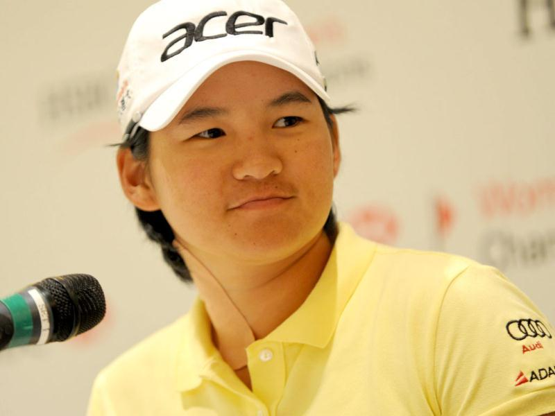 Taiwan's Yani Tseng speaks to reporters during a press conference ahead of the HSBC Women's Champions event in Singapore. AFP/Roslan Rahman