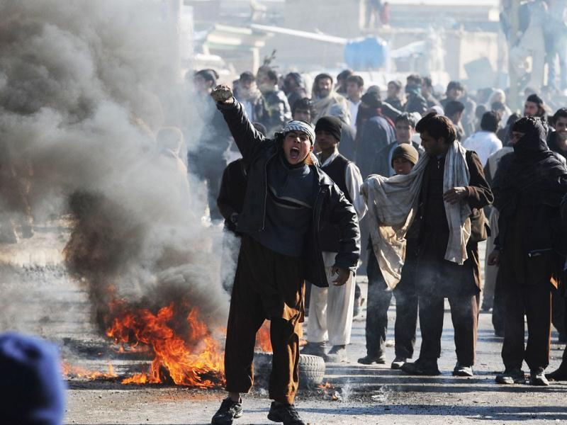 An Afghan youth shouts anti-US slogans during a protest against Koran desecration in Kabul. AFP/Shah Marai