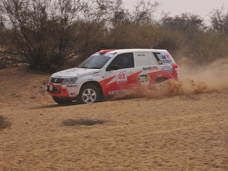 Gaurav Chiripal's Vitara was consistently quick in special stages 4 and 5 on Wednesday. HT Photo/Vinayak Pande