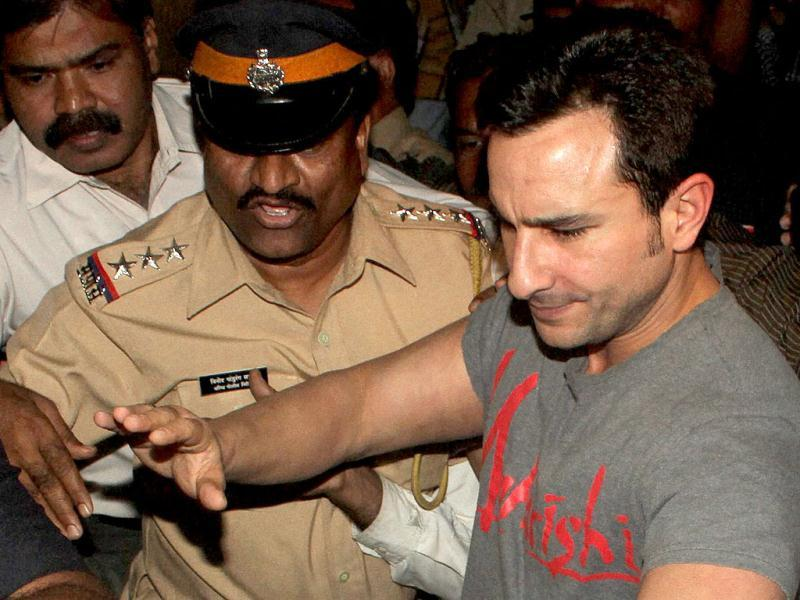 Bollywood actor Saif Ali Khan emerging out of Colaba Police Station after getting bail in assault case filed against him by an NRI businessman in Mumbai. PTI Photo by Shirish Shete
