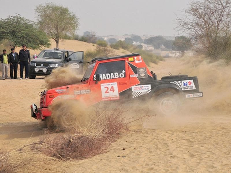 Anwar Khan gets down and dirty on the fourth special stage of the rally... HT Photo/Vinayak Pande