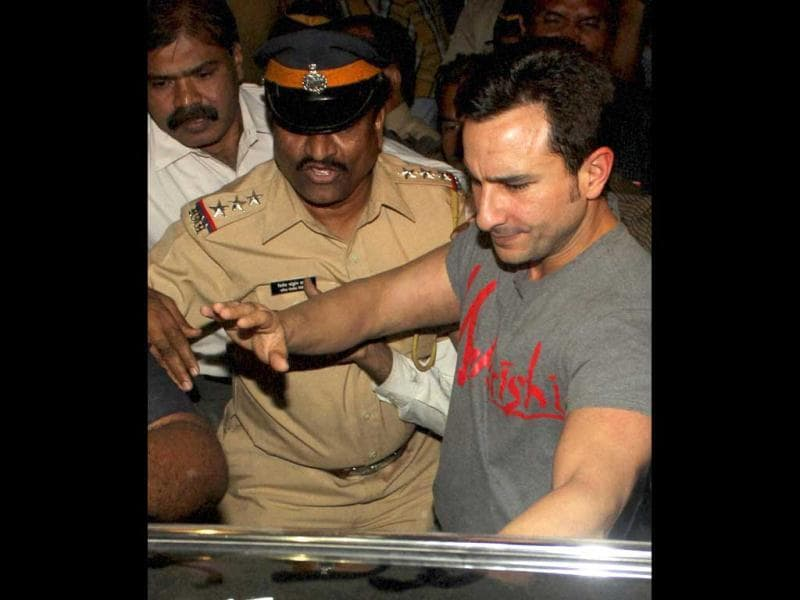 Bollywood actor Saif Ali Khan prepares to get into a car after coming out of a police station in Mumbai. (AP)