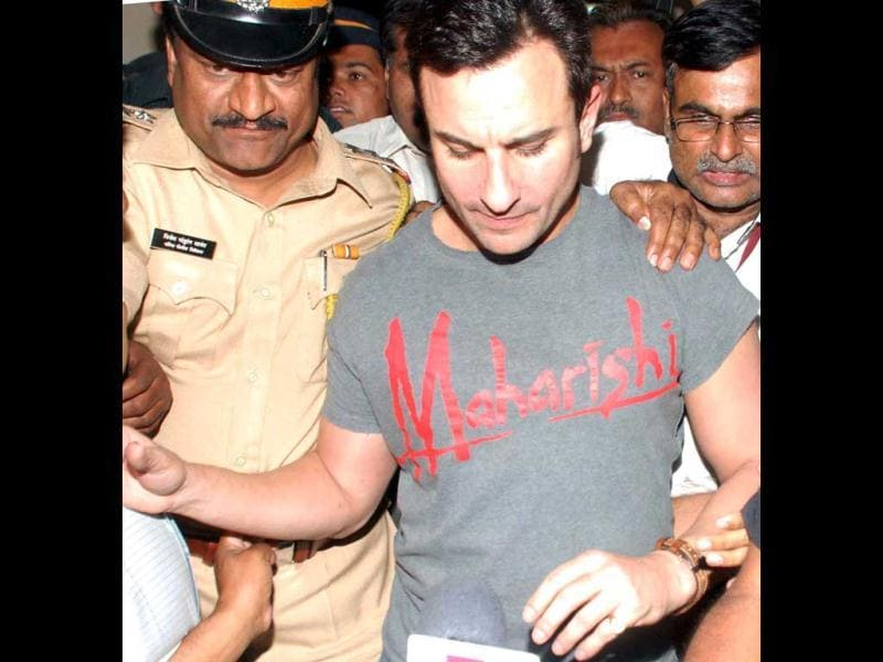 Bollywood actor Saif Ali Khan emerging out of Colaba Police Station after getting bail in assault case filed against him by an NRI businessman in Mumbai on Wednesday. (PTI)