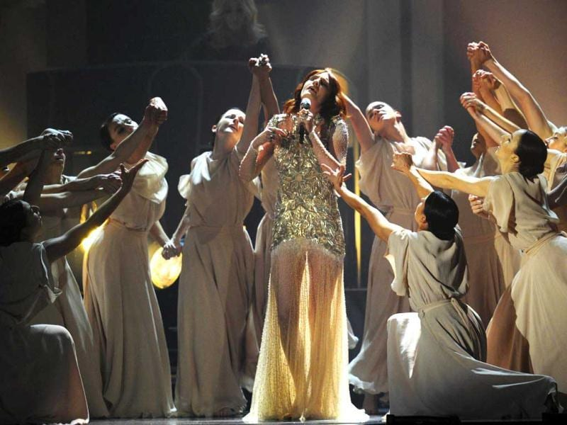Florence and the Machine perform during the BRIT Awards 2012 in London on Feb 21.