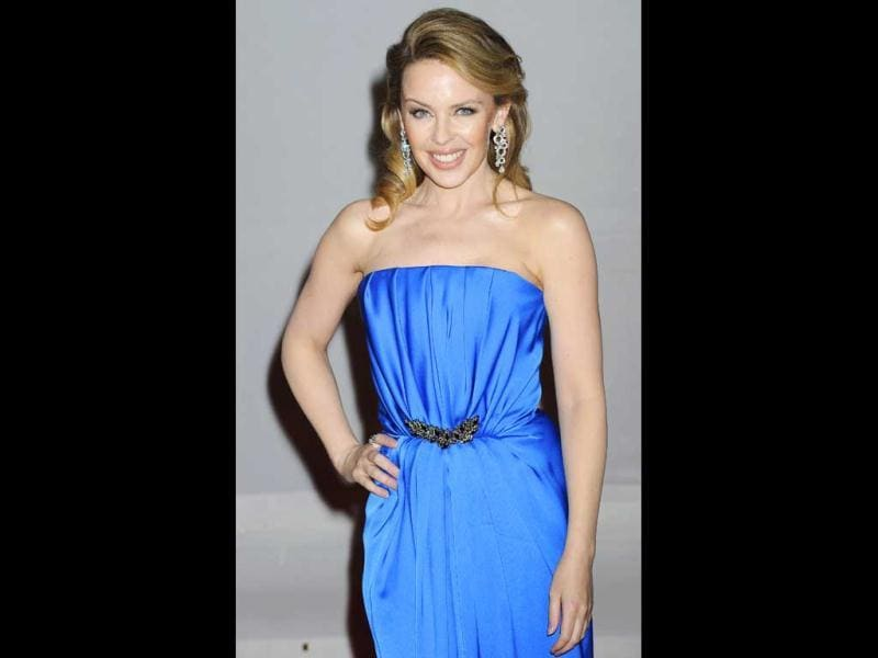 Kylie Minogue poses for the shutterbugs.