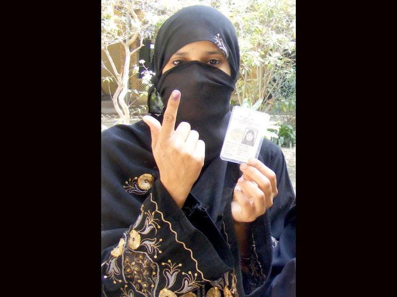 First time voter showing ink marked finger after casting her vote in fifth phase of U P assembly polls in Kanpur. Agencies Photo