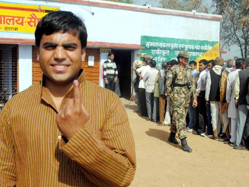 A man showing ink marked finger after casting his vote during the fifth phase of U P assembly poll in Etawah .Agencies Photo