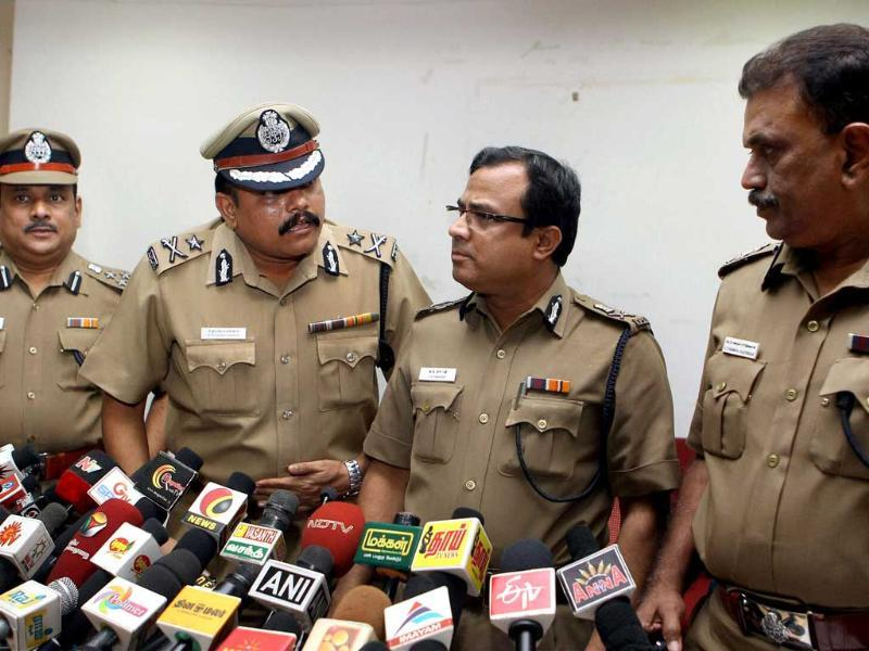 Senior police officials address a press conference after five persons suspected to be involved in the armed bank robberies were killed in an encounter in Chennai. PTI/R Senthil Kumar