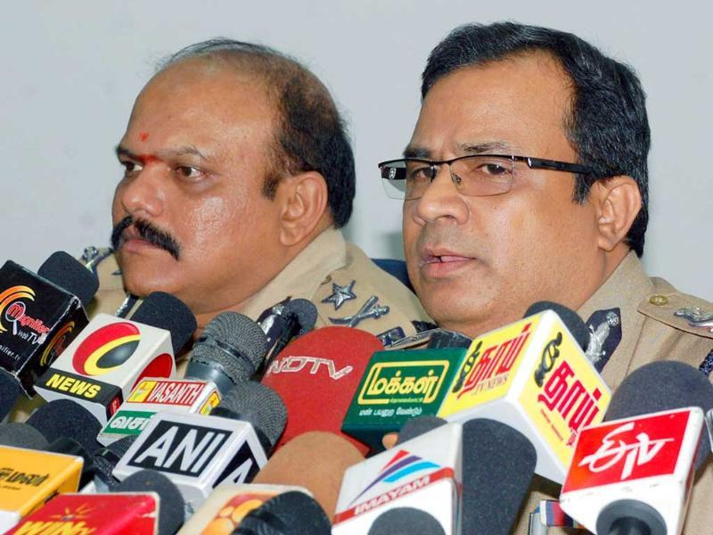 Commissioner of police JK Tripathy addresses a press conference after police shot dead five persons involved in twin bank robberies in an encounter, in Chennai.