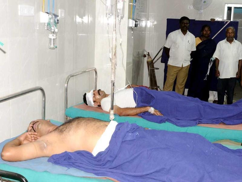 Police personnel who were injured in an encounter with bank robbers undergoing treatment at the Government General Hospital, in Chennai.