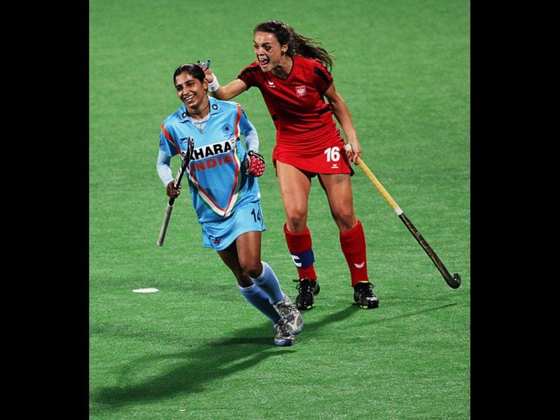 Women's national hockey team player Ritu Rani during the Olympic qualifier against Poland, at National Stadium in New Delhi. HT Photo/Ajay Aggarwal