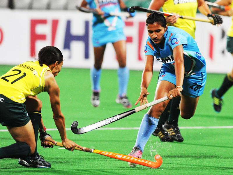 Women's hockey player Rani Rampal during the women's hockey match between India and South Africa of the FIH London 2012 Olympic Hockey qualifying tournament at the Major Dhyan Chand National Stadium in New Delhi. AFP PHOTO/ Prakash Singh