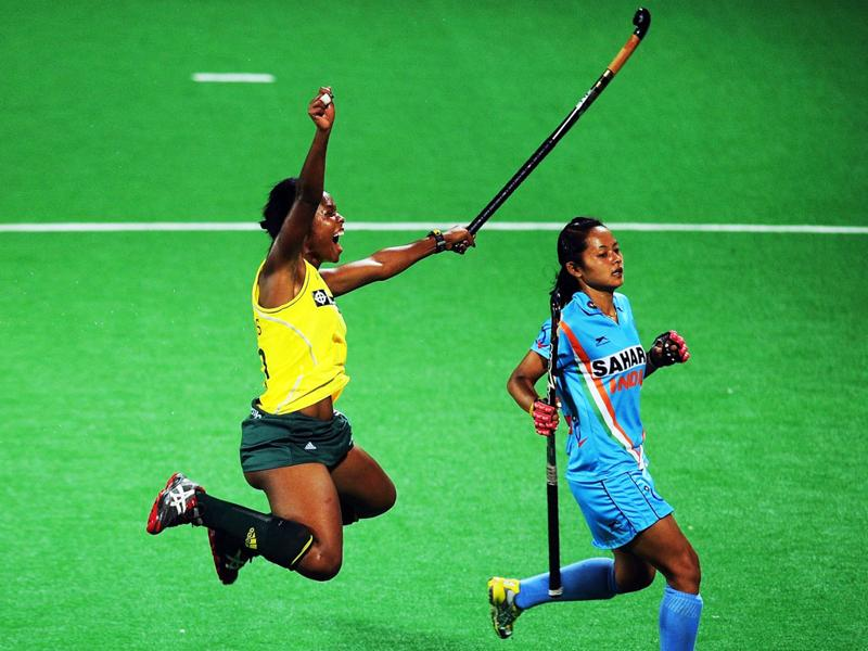 Women's hockey team player Anuradha Devi Thokchom looks on during the women's field hockey match between India and South Africa of the FIH London 2012 Olympic Hockey qualifying tournament at the Major Dhyan Chand National Stadium in New Delhi. AFP PHOTO/Indranil Mukherjee