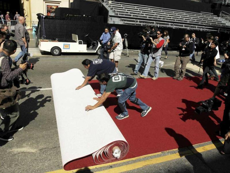 The famous red carpet rolled out at the venue.