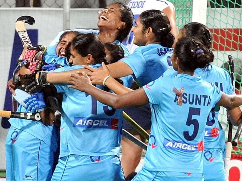 India's Ritu Rani celebrate with Vandana (16) after scoring a goal against Italy during Olympic qualifier (women) hockey match, in New Delhi. PTI Photo by Manvender Vashist