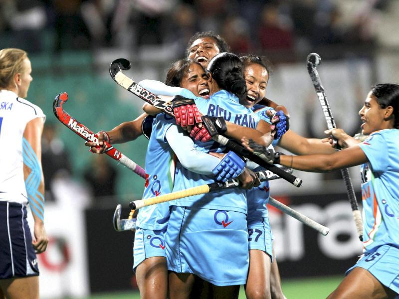 India's Ritu Rani celebrate with teammates after scoring a goal against Italy during Olympic qualifier (women) hockey match, in New Delhi. PTI Photo by Aman Sharma