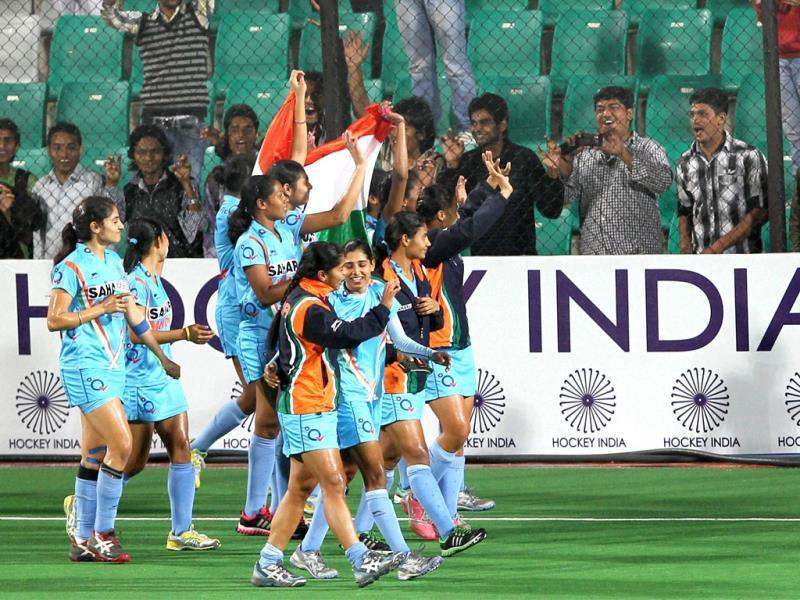 India's women hockey players celebrate after defeating Italy by 1-0 in their Olympic qualifier (women) hockey match in New Delhi on Friday. PTI Photo by Manvender Vashist