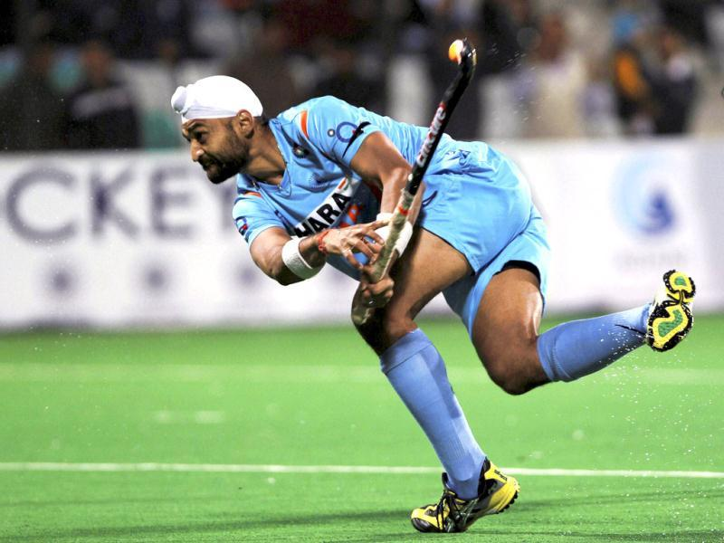 Sandeep Singh of India after winning the match against Poland during the FIH London 2012 Olympic Hockey Qualifying tournament at National Stadium in New Delhi. HT PHOTO BY VIRENDRA SINGH GOSAIN