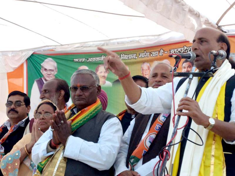 Senior Bhartiya Janata Party Leader Rajnath Singh addressing election rally in support of BJP candidate Ajay Kumar Poeiya from Baldev assembly seat in Farah near Mathura, UP.