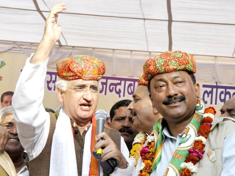 Union law minister Salman Khurshid addressing an election rally in support of Congress candidate in Mathura, Uttar Pradesh.