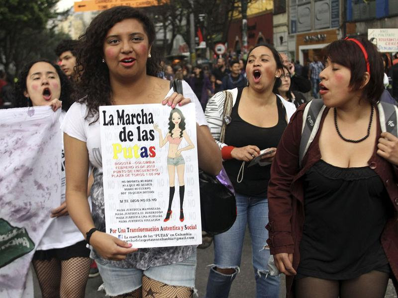 Women shout slogans as they take part in a 'March of the whores' to protest against discrimination and violence against women in Bogota. Reuters/Fredy Builes