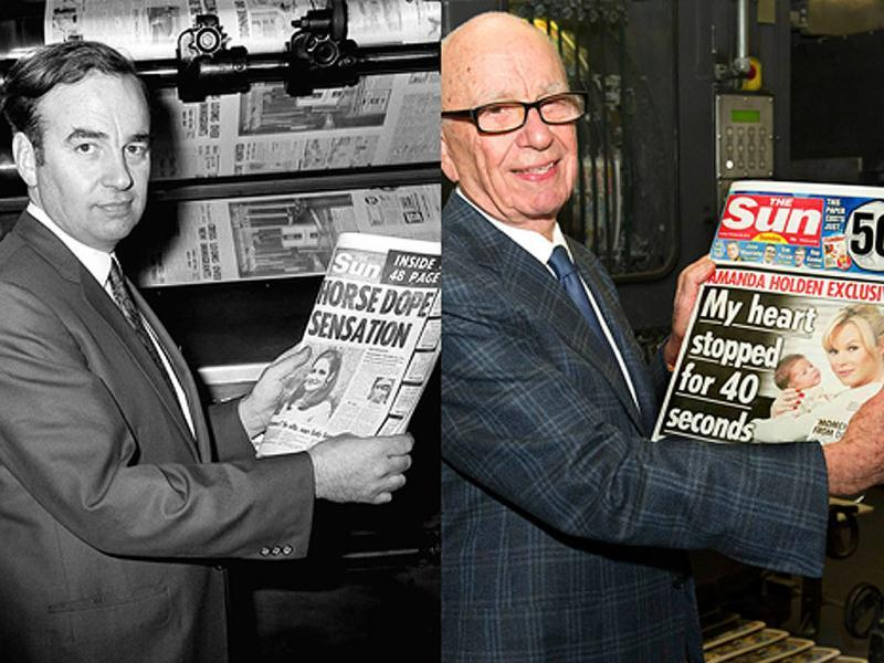 A combination photograph shows the Chairman and CEO of News Corporation, Rupert Murdoch, posing for a photograph with the first edition of The Sun in 1969 (L) and with the first edition of The Sun on Sunday as it comes off the presses at Broxbourne, southern England on February 25, 2012. (Reuters)