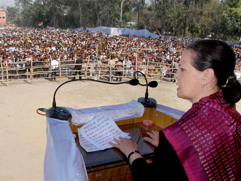 Congress President Sonia Gandhi addresses an election rally in Saharanpur. PTI Photo