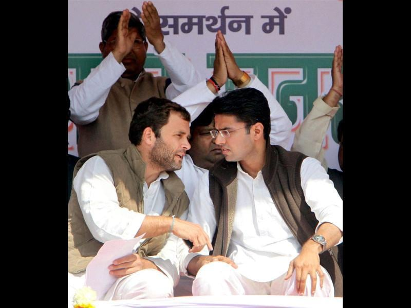 Congress general secretary Rahul Gandhi and minister of state for communications & IT, Sachin Pilot during an election rally in Dadri. PTI/Atul Yadav