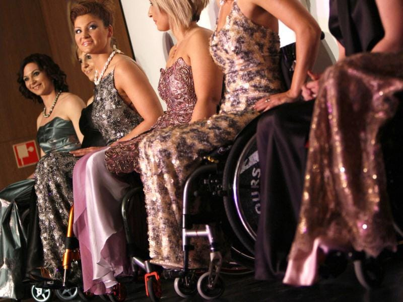 Competitors pose on stage during the Miss Colours Hungary, the country's first wheelchair beauty contest, in Budapest. (Reuters/Bernadett Szabo)