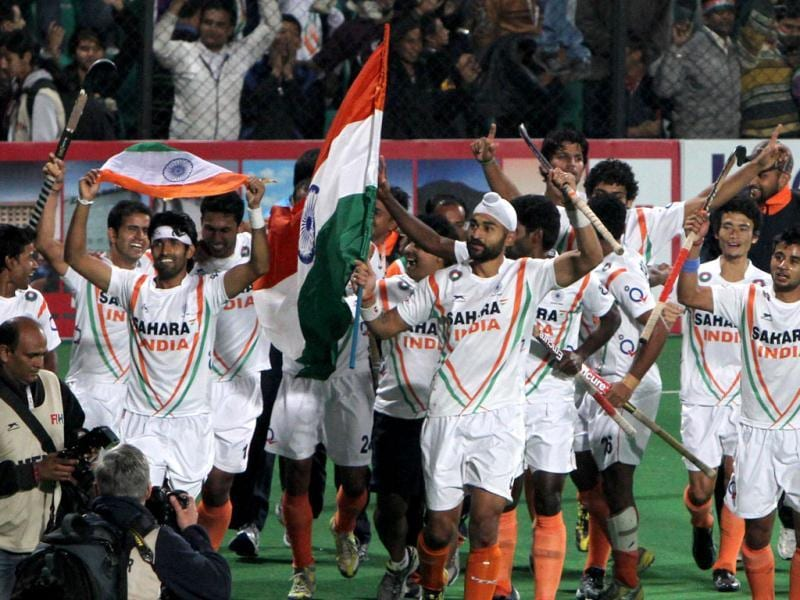 Indian hockey team celebrates after beating France 8-1 in the final match of Olympic qualifier at National Stadium in New Delhi. HT Photo/Mohd Zakir