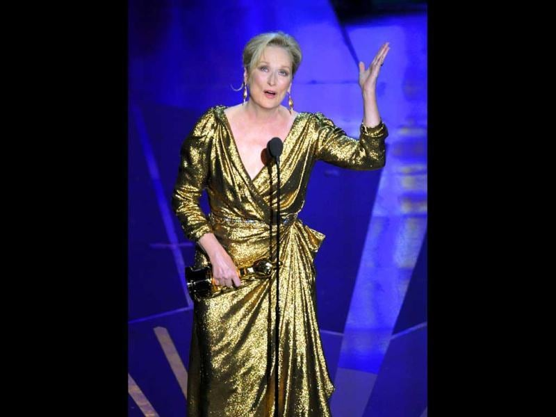 Meryl Streep accepts the Oscar for best actress in a leading role for The Iron Lady during the 84th Academy Awards. (AP)