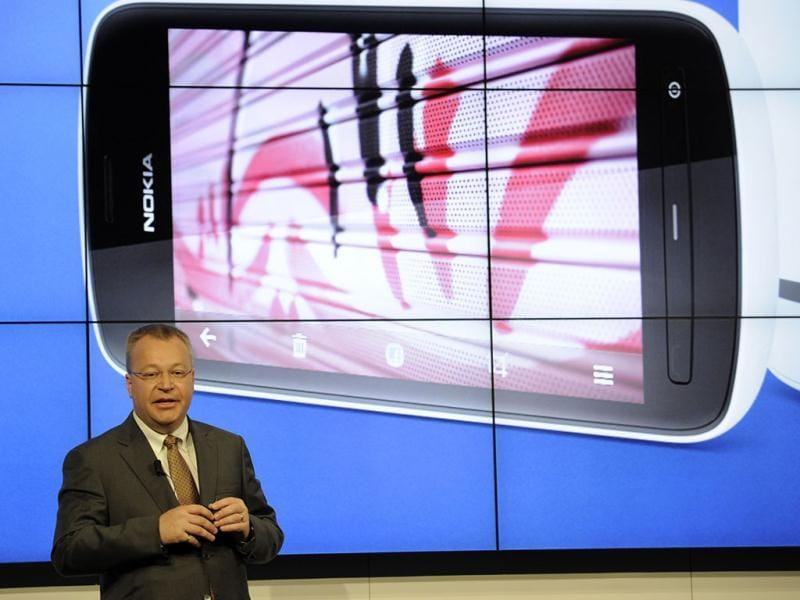 President and CEO of Nokia Stephen Elop at a press conference in Barcelona on the opening day of the Mobile World Congress. The 2012 Mobile World Congress, the world's biggest mobile fair, will be held from February 27 to March 1 in Barcelona. AFP/Lluis Gene
