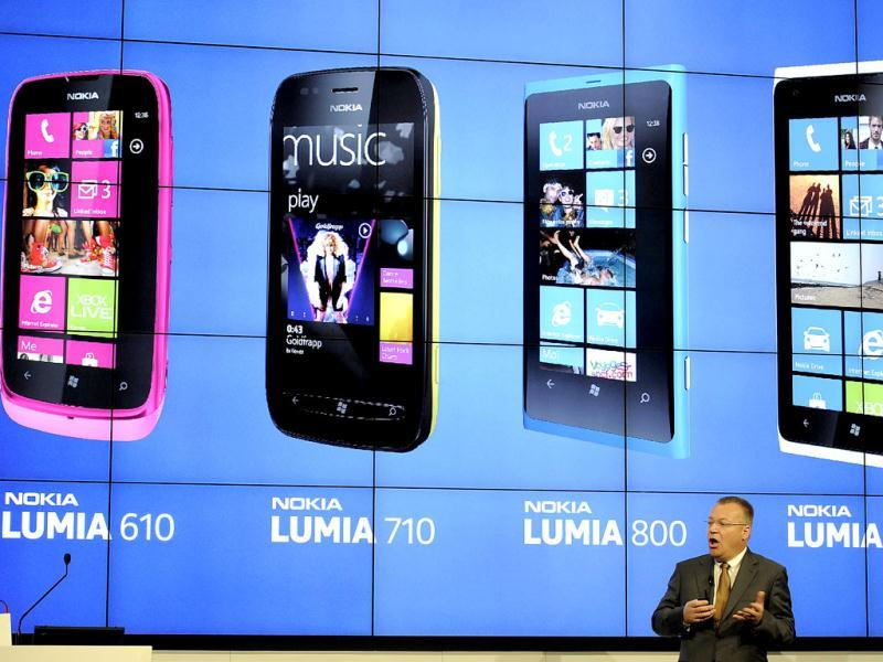 President and CEO of Nokia Stephen Elop presents Nokia's new mobile phones in Barcelona on the opening day of the Mobile World Congress. The 2012 Mobile World Congress, the world's biggest mobile fair, will be held from February 27 to March 1 in Barcelona. AFP/Lluis Gene