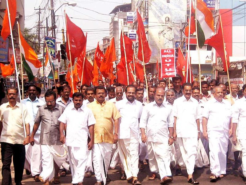 Trade union activists taking out a rally through the town under the leadership of various union leaders including INTUC, CITU and AITUC as part of the All India strike in Kottayam.
